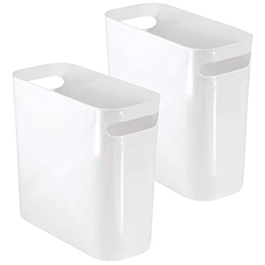 mDesign Slim Plastic Rectangular Small Trash Can Wastebasket, Garbage Container Bin with Handles for Bathroom, Kitchen, Home Office, Dorm, Kids Room - 10  High, Shatter-Resistant - 2 Pack - White