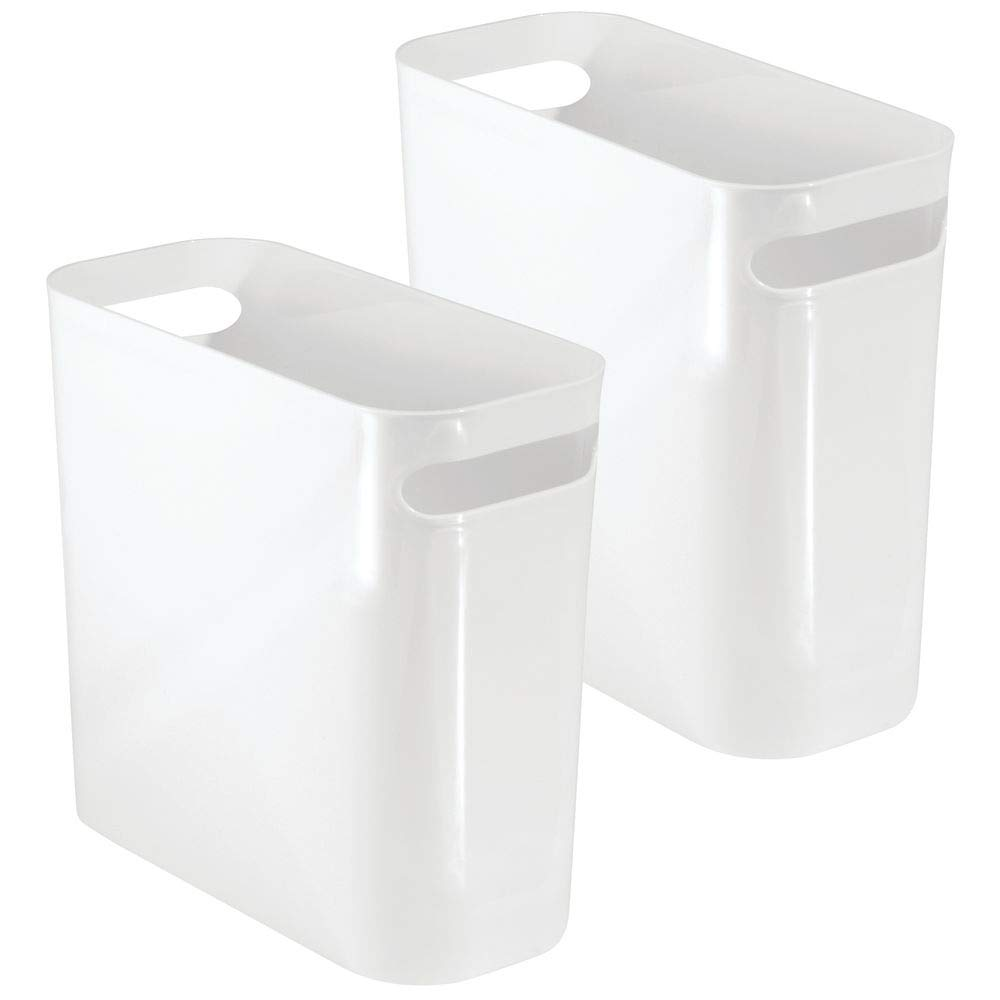 mDesign Slim Plastic Rectangular Small Trash Can Wastebasket, Garbage Container Bin with Handles for Bathroom, Kitchen, Home Office, Dorm, Kids Room - 10'' High, Shatter-Resistant - 2 Pack - White