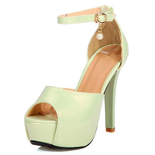tacón claro Fashion verde mujer Heel Zapatos de 1xxpOfw8q