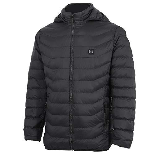 chaqueta plegable para hombre, 5V USB recargable Abrigo cálido Algodón ligero Chaqueta cómoda de calentamiento Clima frío...
