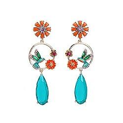 Blue Bird and Flowers Enamel Crystal Earrings