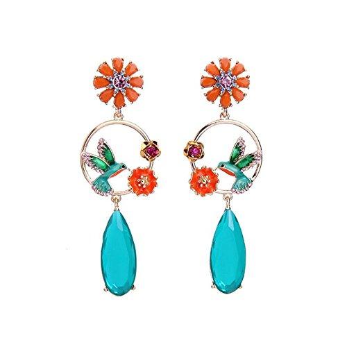 Vinty Jewelry Blue Bird and Flowers Enamel Crystal Dangle Earrings For Women
