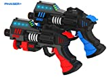 RAYSHOT Phaser+ Interactive Toy Gun Set with Advanced Game Effects (2 Pack, Red & Blue)