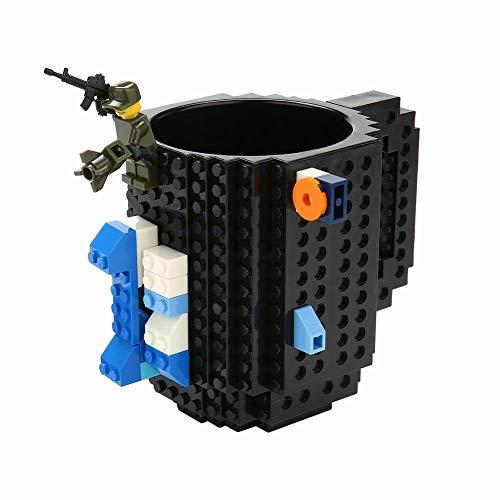 Brick Mugs -Fubarbar 12 oz Built-on Coffee Cups Funny Tea Mug Beverage Cup Block Building Office Breative Pen Cups (Black)