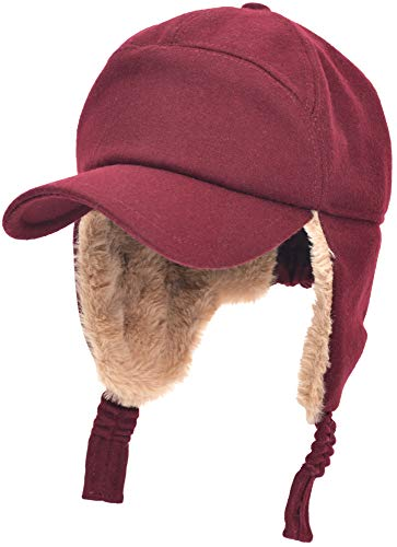 Womens Mens Winter Warm Premium Wool Woolen Peaked Baseball Cap with Faux Fur Fold Earmuffs Earflap Windproof Hat Visor Cap, Multicolor (Red)