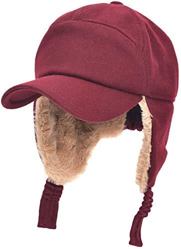 (Womens Mens Winter Warm Premium Wool Woolen Peaked Baseball Cap with Faux Fur Fold Earmuffs Earflap Windproof Hat Visor Cap, Multicolor (Red))