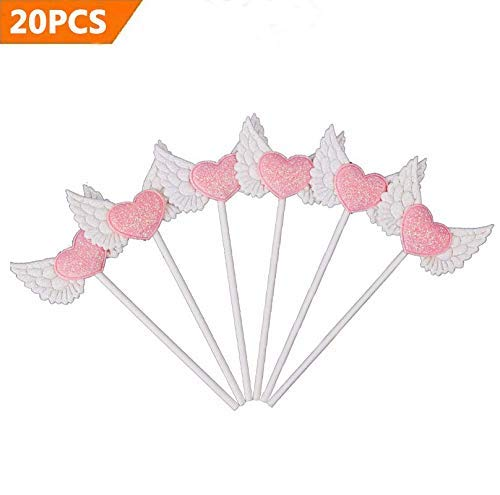 efoot Angel Decorations Party,20PCS Personalized Angel Wings Cupcake Toppers Picks, Cake Topper Perfect for Bridal Baby Shower, Wedding and Birthday Party Decoration (White) -