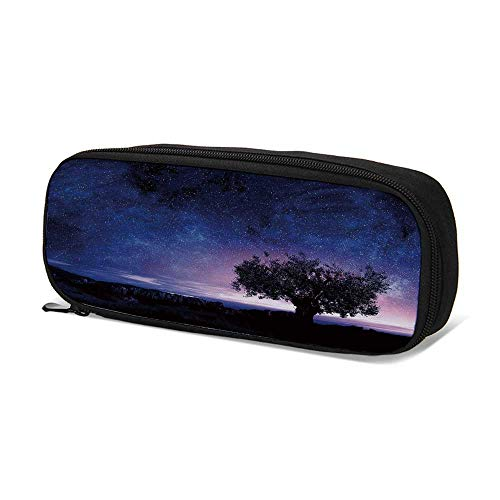 Night Sky Durable Pen Bag,Starry Sky Cosmos Stars with Single Bush Tree Among Rocks Artwork Decorative for School,9.4