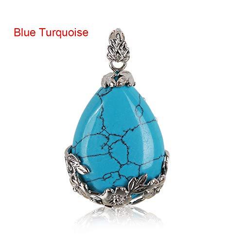 (FOVIUPET 1 PC Natural Quartz Crystal Stone Inlaid Flower Healing Opal Water Drop Necklace Pendants Vintage Jewelry(Blue Turquoise))