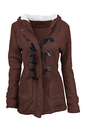 Brown in con maniche Size solido Parka lunghe Casual cappuccio Outcoat cotone Sevozimda Plus Donna a Ex0qF6n