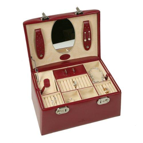 Windrose Merino Schmuckkoffer mit 6 Seitenschubladen 0 rot - 3