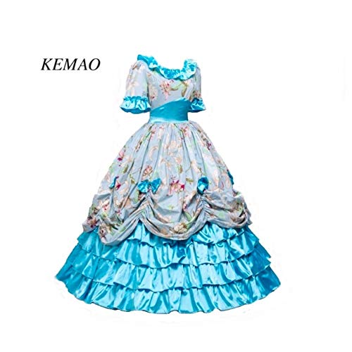 KEMAO Women's Victorian Rococo Dress Inspiration Maiden Costume (S:Height63-65 Chest34-35 Waist26-27, Green-) -