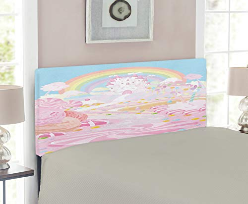 - Lunarable Teen Girls Headboard for Twin Size Bed, Lollipop Figures on The Road to Fairy Kingdom Colorful Rainbow in The Clear Sky, Upholstered Decorative Metal Headboard with Memory Foam, Pink Blue