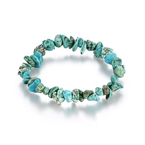 Natural Stone Bracelet Bangle Healing Crystal Stretch Gemstone Bracelets (Blue turquoise)