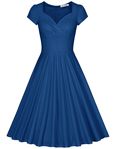 MUXXN Women's 1940s Retro Style Wrap V Neck Formal Work Swing Dress (Navy Blue M)