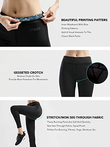 SILIK Women's Workout Pants Running Leggings Essential Yoga Capri Active Leggings (L, Black Capri Pants)