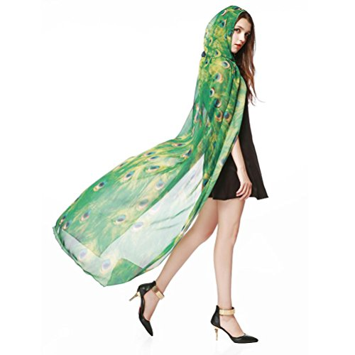 - Usstore 1PC Women Wrap Fashion Print Chiffon Butterfly Wings Scarves Shawl Peacock Poncho Accessory (E)