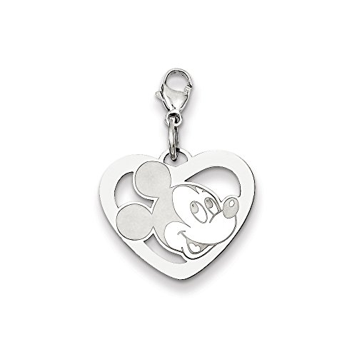 Roy Rose Jewelry Sterling Silver Mickey Mouse Heart Lobster Clasp Charm Necklace Complete with 18