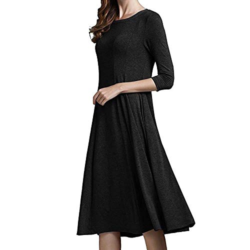 NUWFOR Women's Long Sleeve Pleated Loose Swing Casual Dress with Pockets Knee Length for Winter/Full White