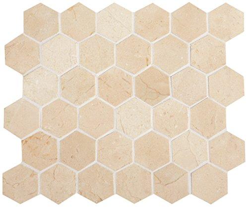 Dal-Tile M7222HEXMS1L- Marble Tile, Crema Marfil Hex Mosa...