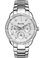 Bulova 96W195 Ladies Diamond Silver Steel Bracelet Chronograph Watch