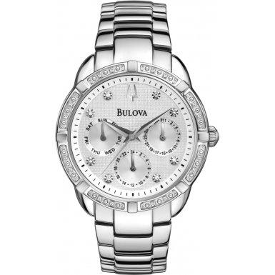 Bulova 96W195 Ladies Diamond Silver Steel Bracelet Chronograph Watch by Bulova