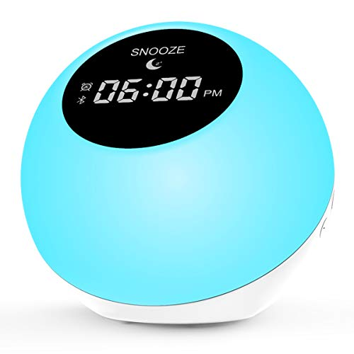 Alarm Lock for Bedrooms,Sunrise Wake Up Light for Home|Bluetooth Speakers Alarm Clock for Heavy Sleepers 7 Colored|White Noise Machine 6 Nature Sounds for Baby,Travel