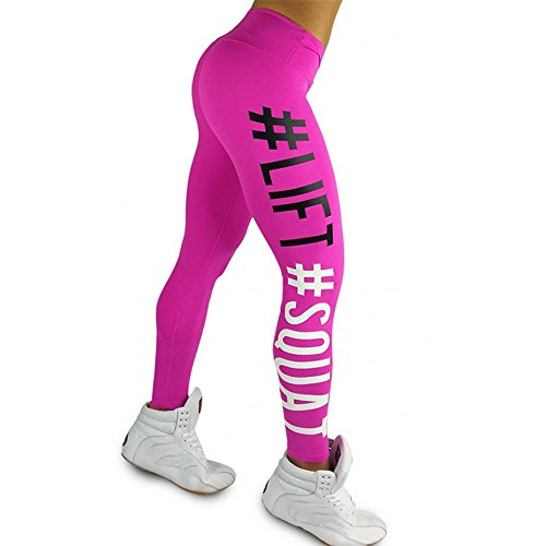 Life Squat Letter Yoga Pants, Women's Fashion Workout Leggings Fitness Sports Gym Running Yoga Athletic Pants by E-Scenery (Hot Pink, Large)