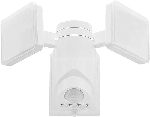 MKD LED Motion Security Light, Solar Power, Twin Head, 1200lumen, 5000K Daylight, Easy Installation with L- Bracket, Waterproof, Energy Saving,Adjustable Head for entryway, Deck, Patio, Backyard