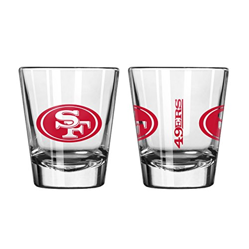 NFL Shot Glass Cup (Set of 2) NFL Team: San Francisco 49ers (Francisco Sports Glass 49ers San)