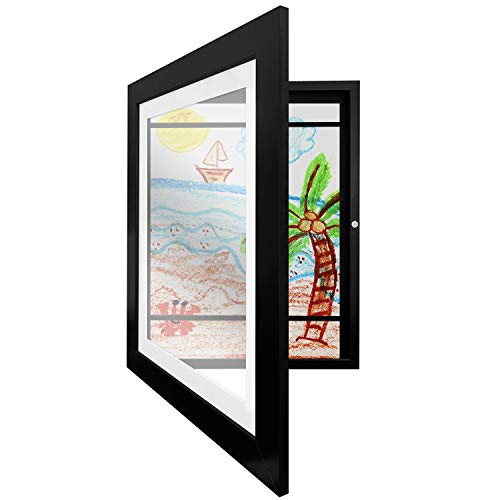 (Americanflat Black Kids Artwork Picture Frame with Shatter-Resistant Glass - Display Artworks Sized 8.5x11 with Mat and 10x12.5 Without Mat)