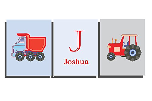 Children's Tractor Truck Construction Farm Vehicle Wall Art Boys Room Decor Personalize Name Letter Initial Transport Theme Bedroom Nursery Pictures Blue Red (Set of 3 Unframed Prints)
