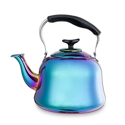 for Stove Top Induction 18/10 Stainless Steel Teapot TeaKettles Gas Stovetop Water Kettle Whistle Modern Cookware 2 Liter 2 Quart ()