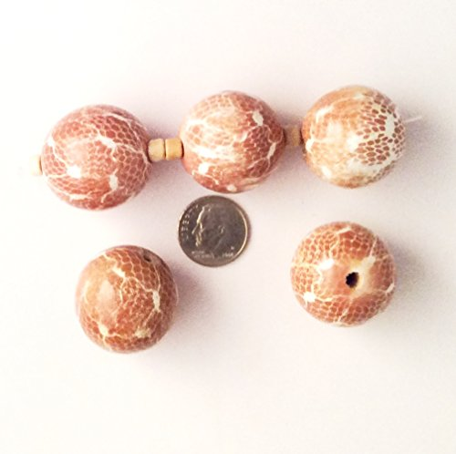 BUY 2, GET 1 FREE Beads Wood Snake Pattern 25mm Smooth Round - Mocha Color, 6pcs