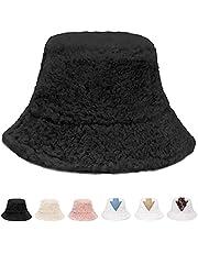 K·K Fluffy Bucket Hat - Winter Fisherman Hat Faux Fur Hat Pattern Warm Hat for Women Men (Black)