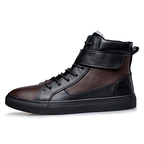 Sun Lorence Mens Winter High Top Velcro Strap Lace-up Leather Ankle Sneakers Warm Fur-lined Snow Boots Black Brown eijfC