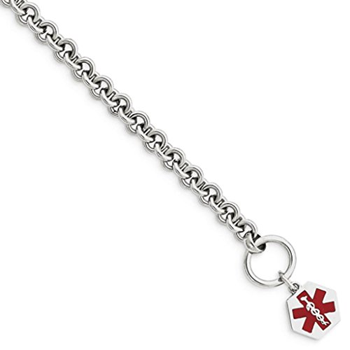 925 Sterling Silver Polished 6mm Engraveable Enameled Hexagon Medical ID Toggle Bracelet 7.75