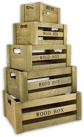 Caja De Almacenamiento Vintage Caja madera set de 5 Marrón Caja de ...