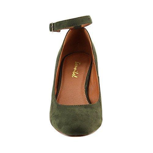 BONNIBEL GF46 Women's Buckled Ankle Strap Mid Block Heel Dress Pumps, Color:OLIVE, Size:7.5 (Dress Shoes Green)