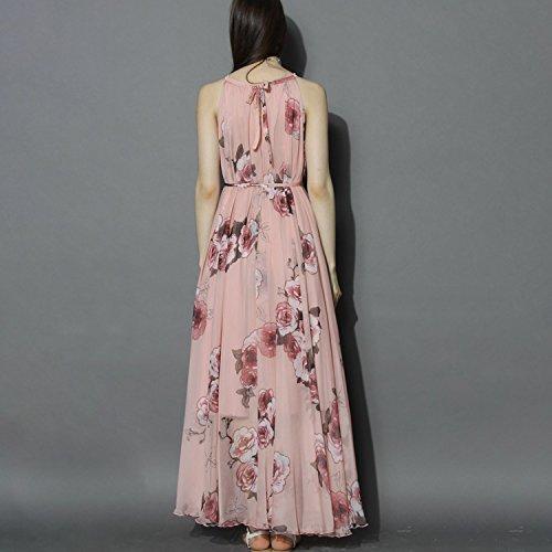 Maxi BoodTag Summer Piece Sleeveless up One Ruffle Tie Skirt Floral Dress Women Pink FYvrwxqYE