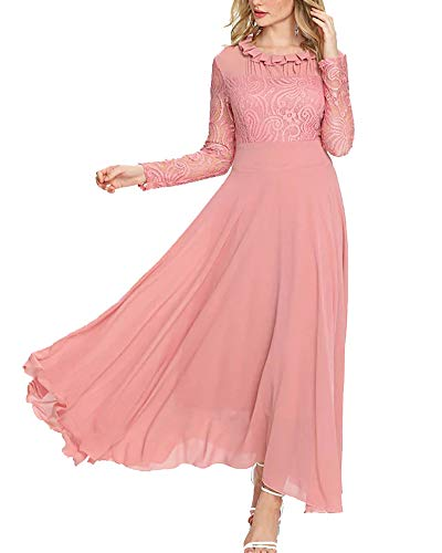 - Aofur Women's Long Sleeve Chiffon Maxi Dresses Casual Floral Lace Evening Cocktail Party Long Dress (Large, Light Pink)