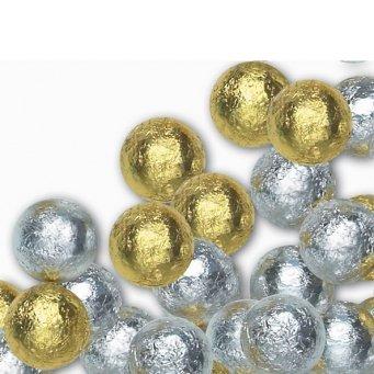Gold & Silver Solid Milk Chocolate Balls (1 Lb - 80 Pcs) Chocolate Foil Balls