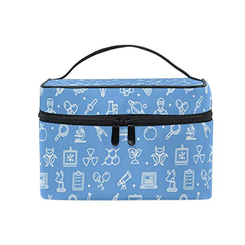 Travel Makeup Cosmetic Bags Blue Science Math Nerd GiftToiletry Bags Makeup Suitcase For -