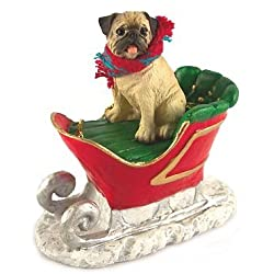 fawn chinese pug dog in sleigh christmas ornament new by conversation concepts