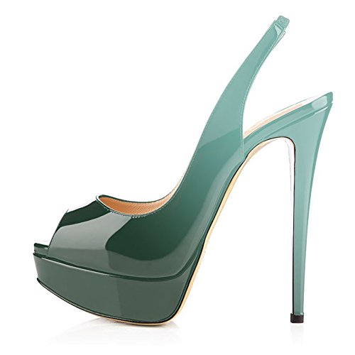 UMEXI Women Peep Toe Platform Sandals Slingback High Heels Party Stilettos Dress Shoes Gradient Green Size (New Patent Leather Peep Toe)