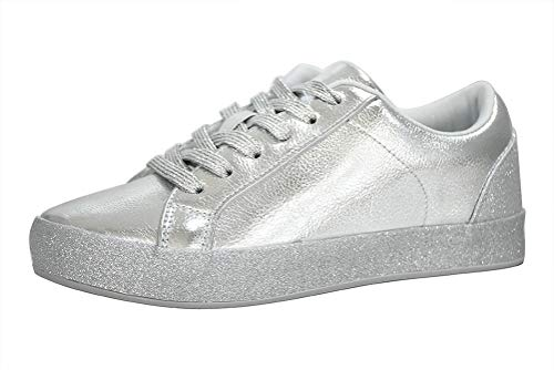 LUCKY STEP Glitter Sneakers Lace up | Fashion Sneakers | Sparkly Shoes for Women (7 B(M) US,Silver -1) ()