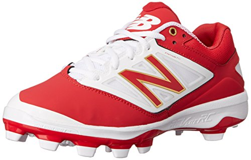 New Balance Men's PL4040V3 Baseball TPU-M, Red/White, 14 D US