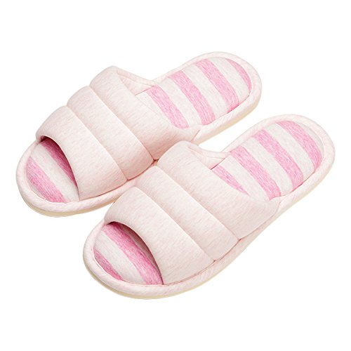 House Linen Slipper For Cotton Couple And Slipper Men Open Pink Toe Terry Women ONCAI 5qRt5