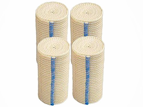 GT Cotton Elastic Bandage w/Hook and Loop Closure on Both Ends, 4 Width - 4 Pack