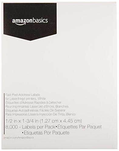 AmazonBasics Fast Peel Address Labels for Laser/Inkjet Printers, White, 1/2 x 1-3/4 Inch Label, 8,000 Labels